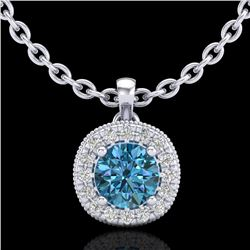 1.1 CTW Fancy Intense Blue Diamond Solitaire Art Deco Necklace 18K White Gold - REF-121R8K - 37999