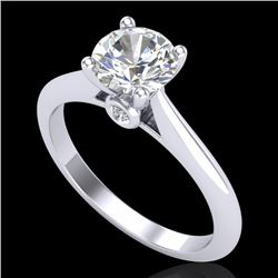 1.08 CTW VS/SI Diamond Solitaire Art Deco Ring 18K White Gold - REF-361H8W - 37286