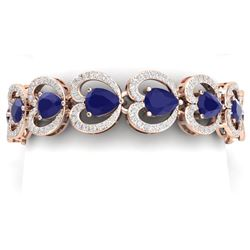 32.15 CTW Royalty Sapphire & VS Diamond Bracelet 18K Rose Gold - REF-672W8H - 38692