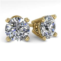 3 CTW Certified VS/SI Diamond Stud Earrings 18K Yellow Gold - REF-931M5F - 32317