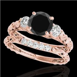 1.35 CTW Certified Vs Black Diamond 3 Stone Set 10K Rose Gold - REF-51H6W - 35434