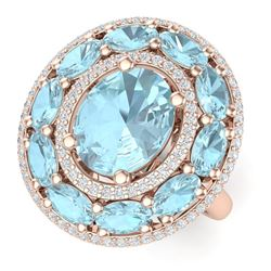 8.47 CTW Royalty Sky Topaz & VS Diamond Ring 18K Rose Gold - REF-163T6X - 39250