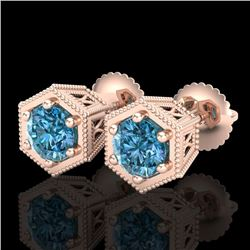 1.15 CTW Fancy Intense Blue Diamond Art Deco Stud Earrings 18K Rose Gold - REF-130T9X - 38042