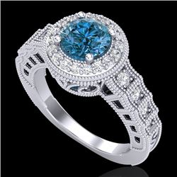 1.53 CTW Fancy Intense Blue Diamond Solitaire Art Deco Ring 18K White Gold - REF-263F6M - 37649