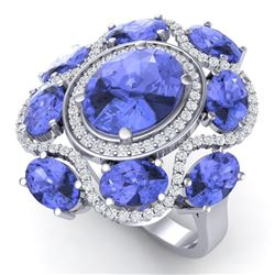 9.67 CTW Royalty Tanzanite & VS Diamond Ring 18K White Gold - REF-245R5K - 39300