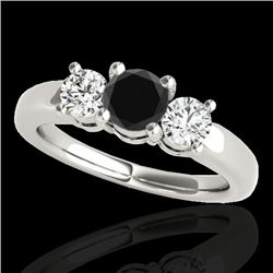 2 CTW Certified Vs Black Diamond 3 Stone Solitaire Ring 10K White Gold - REF-185R5K - 35442