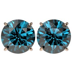 5 CTW Certified Fancy Blue SI Diamond Stud Earrings 10K Rose Gold - REF-1390W5H - 33149