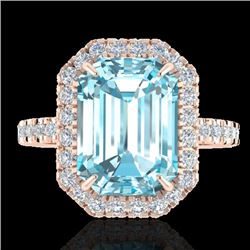 63 CTW Sky Blue Topaz & Micro Pave VS/SI Diamond Halo Ring 14K Rose Gold - REF-50W4H - 21419