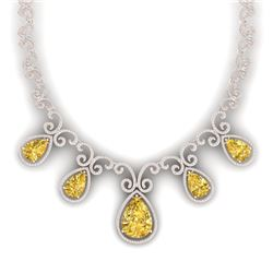 36.1 CTW Royalty Canary Citrine & VS Diamond Necklace 18K Rose Gold - REF-1022R8K - 39538