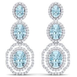 17.96 CTW Royalty Sky Topaz & VS Diamond Earrings 18K White Gold - REF-290F9M - 39213