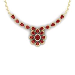 38.46 CTW Royalty Ruby & VS Diamond Necklace 18K Yellow Gold - REF-654R5K - 39035