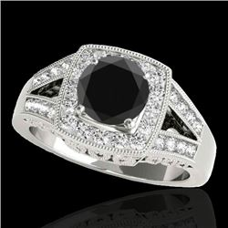 1.65 CTW Certified Vs Black Diamond Solitaire Halo Ring 10K White Gold - REF-153F8M - 34462