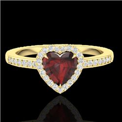 1.20 CTW Garnet & Micro VS/SI Diamond Certified Ring Heart Halo 14K Yellow Gold - REF-35T3X - 21407