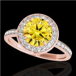 1.65 CTW Certified Si Fancy Intense Yellow Diamond Solitaire Halo Ring 10K Rose Gold - REF-219T5X -