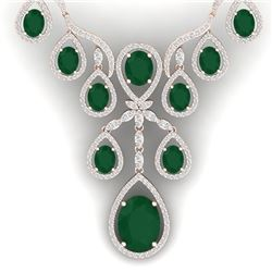 37.66 CTW Royalty Emerald & VS Diamond Necklace 18K Rose Gold - REF-963N6Y - 38557