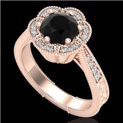1.33 CTW Fancy Black Diamond Solitaire Engagement Art Deco Ring 18K Rose Gold - REF-89H3W - 37955