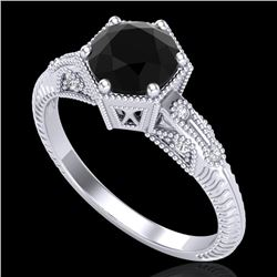 1.17 CTW Fancy Black Diamond Solitaire Engagement Art Deco Ring 18K White Gold - REF-85K5R - 38031