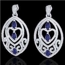 7 CTW Tanzanite & Micro Pave VS/SI Diamond Heart Earrings 18K White Gold - REF-381K8R - 21163