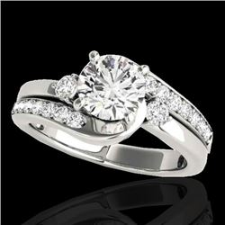 1.75 CTW H-SI/I Certified Diamond Bypass Solitaire Ring 10K White Gold - REF-218H2W - 35097