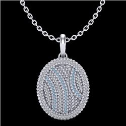 1 CTW Micro Pave Blue & White VS/SI Diamond Certified Necklace 14K White Gold - REF-96X8T - 20507