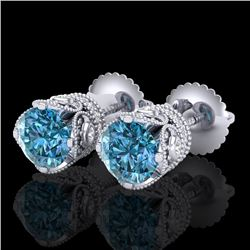 1.85 CTW Fancy Intense Blue Diamond Art Deco Stud Earrings 18K White Gold - REF-172M8F - 37411