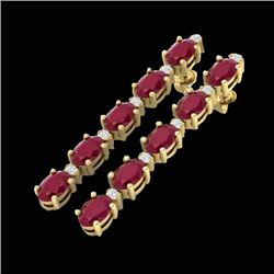 12.36 CTW Ruby & VS/SI Certified Diamond Tennis Earrings 10K Yellow Gold - REF-89H3W - 29404