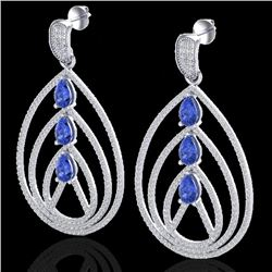 4 CTW Tanzanite & Micro Pave VS/SI Diamond Designer Earrings 18K White Gold - REF-259X3T - 22461