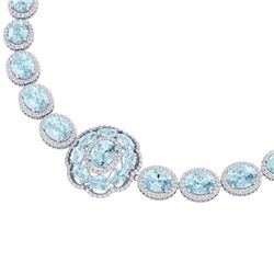 81.42 CTW Royalty Sky Topaz & VS Diamond Necklace 18K White Gold - REF-1054Y5N - 39231