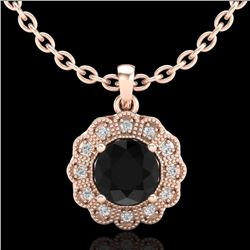 1.15 CTW Fancy Black Diamond Solitaire Art Deco Stud Necklace 18K Rose Gold - REF-89M3F - 37843