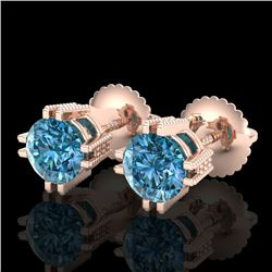 1.07 CTW Fancy Intense Blue Diamond Art Deco Stud Earrings 18K Rose Gold - REF-143M6F - 37538