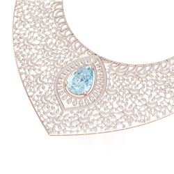 63.27 CTW Royalty Sky Topaz & VS Diamond Necklace 18K Rose Gold - REF-2454K5R - 39580