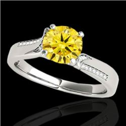 1.18 CTW Certified Si Fancy Intense Yellow Diamond Solitaire Ring 10K White Gold - REF-218Y2N - 3528