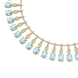 65.76 CTW Royalty Sky Topaz & VS Diamond Necklace 18K Yellow Gold - REF-945F5M - 39134