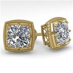 2.0 CTW VS/SI Cushion Cut Diamond Stud Earrings Deco 14K Yellow Gold - REF-512F8M - 29788