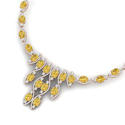 64.04 CTW Royalty Canary Citrine & VS Diamond Necklace 18K Rose Gold - REF-945M5F - 39010