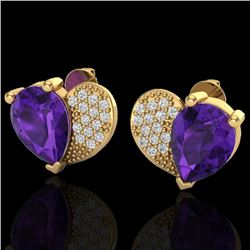2.50 CTW Amethyst & Micro Pave VS/SI Diamond Certified Earrings 10K Yellow Gold - REF-30H2W - 20065