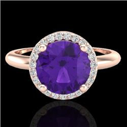 2 CTW Amethyst & Micro Pave VS/SI Diamond Certified Ring Halo 14K Rose Gold - REF-44N9Y - 23204