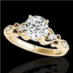 1.15 CTW H-SI/I Certified Diamond Solitaire Antique Ring 10K Yellow Gold - REF-156H4W - 34812