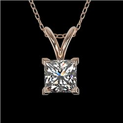 0.50 CTW Certified VS/SI Quality Princess Diamond Necklace 10K Rose Gold - REF-74T5X - 33167