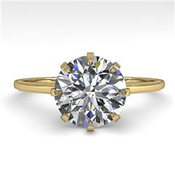 2.03 CTW Certified VS/SI Diamond Engagement Ring 14K Yellow Gold - REF-936H9W - 35575