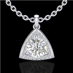 1.50 CTW Micro Pave Halo VS/SI Diamond Certified Necklace 18K White Gold - REF-385R8K - 20524
