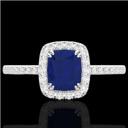 1.25 CTW Sapphire & Micro Pave VS/SI Diamond Certified Halo Ring 10K White Gold - REF-34X2T - 22910