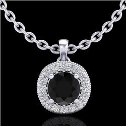 1.1 CTW Fancy Black Diamond Solitaire Art Deco Stud Necklace 18K White Gold - REF-79N3Y - 37996