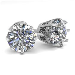 3.09 CTW VS/SI Diamond Stud Solitaire Earrings 14K White Gold - REF-948M8F - 35565