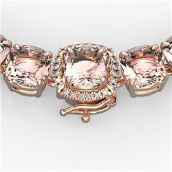 87 CTW Morganite & VS/SI Diamond Pave Necklace 14K Rose Gold - REF-1163M6F - 23353