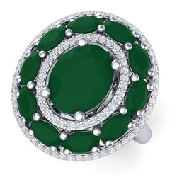 8.05 CTW Royalty Designer Emerald & VS Diamond Ring 18K White Gold - REF-143W6H - 39237
