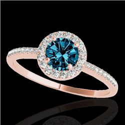 1.2 CTW SI Certified Fancy Blue Diamond Solitaire Halo Ring 10K Rose Gold - REF-150M9F - 33505