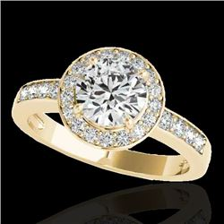 2 CTW H-SI/I Certified Diamond Solitaire Halo Ring 10K Yellow Gold - REF-355K5R - 34353