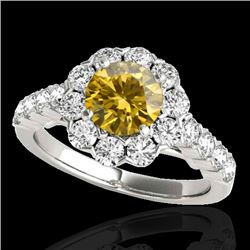 2.35 CTW Certified Si Fancy Intense Yellow Diamond Solitaire Halo Ring 10K White Gold - REF-218R2K -