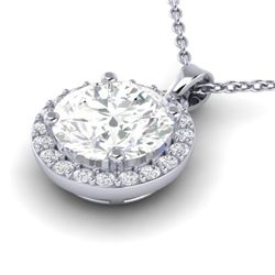 1.75 CTW VS/SI Diamond Certified Pave Necklace 18K White Gold - REF-525M2F - 21568